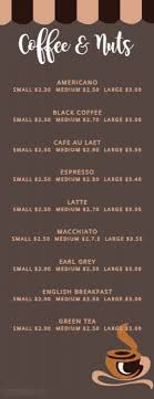 pages menu template half page coffee menu template postermywall