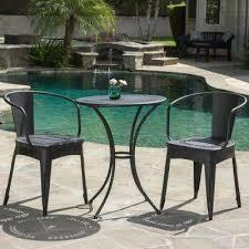 iron patio furniture. Lourdes Black Sand 3-Piece Metal Round Outdoor Bistro Set Iron Patio Furniture
