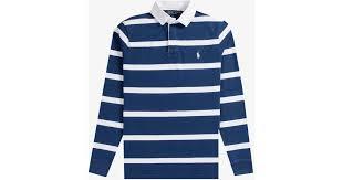 polo ralph lauren bar stripe rugby shirt navy white in blue for men lyst