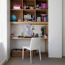 office desk shelves. Home Office With Alcove Desk, Shelving And Doors Make Full Use Of An In Desk Shelves E