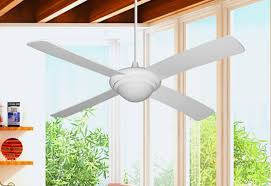 picture of 52 luna indoor outdoor ceiling fan and light in pure white with remote