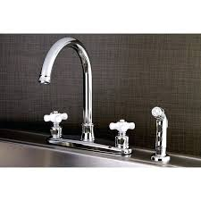 double handle kitchen faucet with side spray sprayer moen repair brass