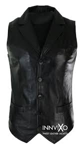 slim fit vest leather jacket
