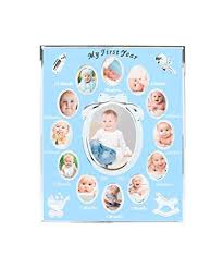 Tiny Ideas Babys First Year Keepsake Picture Photo Frame Silver Blue