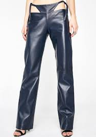 maria ke fisherman t detail leather pants