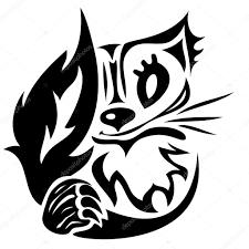 Illustrazione Stylized Cat Tattoo Tatuaggio Gatto Stilizzato