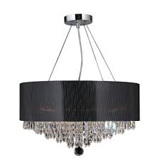 worldwide lighting gatsby collection 8 light polished chrome and clear crystal chandelier with drum shade