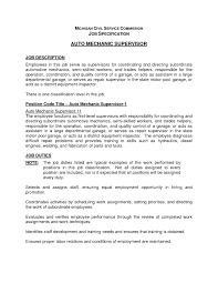 Motorcycle Mechanic Job Description 20 Auto Mechanic Resume