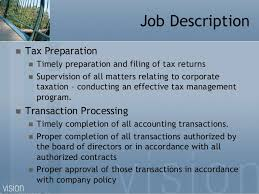 tax job resume - Tax Professional Job Description