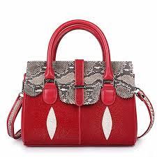 las stingray leather handbags snap closure purses red