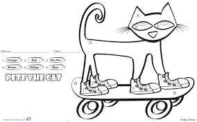 Pete The Cat Coloring Pages Color By Number Skateboard Free