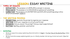 english pre ap world literature today warm up warm up  lesson essay writing types of essays types of essays expository the purpose is to