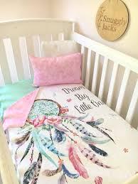 baby cot crib quilt blanket dreamcatcher baby girl nursery bedding crib comforter pink aqua nursery