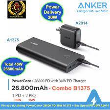 Combo: Pin sạc dự phòng ANKER PowerCore+ 26800mAh 45W + Củ Sạc ANKER A2014  PD 30W