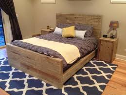 Furniture. Reclaimed Wood Queen Size Bed With Headboard And Double  Nightstand Placed On Grey Treliss