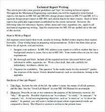 Engineering Technical Report Template Engineering Report Format Template Download Free Sample Report
