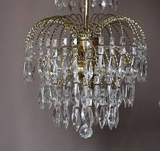 7 of 8 waterfall pendant antique french vintage glass crystal chandelier lamp old light