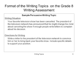 grade writing assessment ppt  format of the writing topics on the grade 8 writing assessment