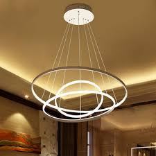 3 circular ring ceiling pendant light aluminum led