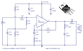 car amplifier circuit schematic using tda integrated audio car audio amplifier circuit schematic and diagram