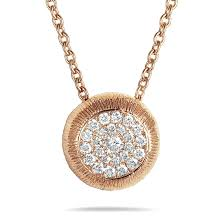 lb exclusive 18k rose gold diamond pave small round pendant necklace