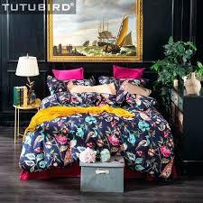 peacock sheet set royal blue fl bed linen flat print bedding high quality cotton bedclothes duvet peacock sheet set