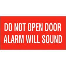 do not open door alarm will sound self adhesive vinyl door signs