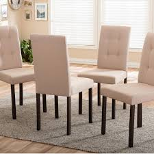 baxton studio andrew 9 grids beige fabric upholstered dining chairs set of 4