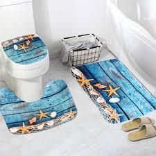 flannel starfish pattern toilet rug bathroom contour mat non slip mat lid toilet cove 3pcs