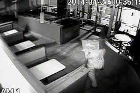 grill in bismarck north dakota wearing a cardboard box as a disguise early monday morning according to kfyr tv the robber smashed the glass door