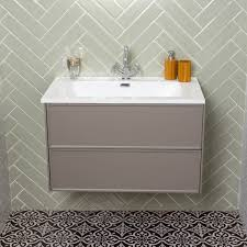 kersig wall hung bathroom vanity unit resin basin