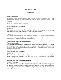 Plumber Resume template Work Description Template Plumbing Job Resume And 87