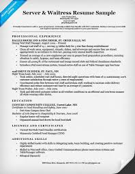 Food Service Resume Examples Server Waitress Sample Suitable