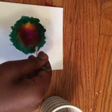Dip Q- tip in water then dap on your canvas where your pattern is