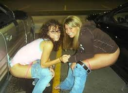 Girl caught peeing in public