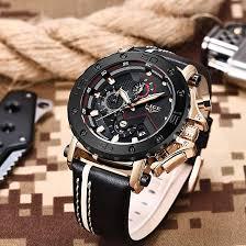 LIGE <b>Men's Watches</b> Chronograph Waterproof Leather <b>Sports</b> ...