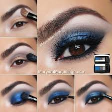 dark blue eye makeup tutorial