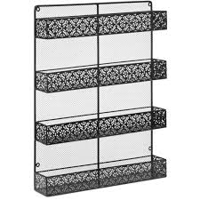 4 Tier Large Wall Mounted Wire Spice Rack Organizer - Black