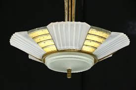 art deco 1930 s vintage chandelier etched glass shades