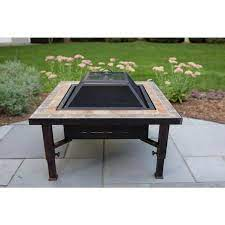 Global Outdoors 34 In W Brushed Bronze Steel Wood Burning Fire Pit In The Wood Burning Fire Pits Department At Lowes Com