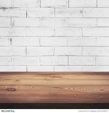 white wood table texture. wood table and white brick wall background texture