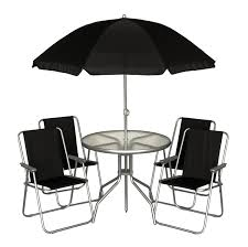 black 6pc garden furniture outdoor patio set w 4 chairs table parasol bbq