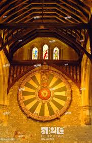 stock photo king arthur s round table hanging in the great hall winchester england