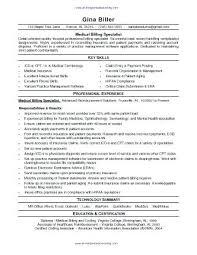 Medical Claims And Billing Specialist Sample Resume Podarki Co