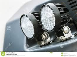 Parking Lights Car Headlights And Parking Lights Of A Truck Excavator Tractor