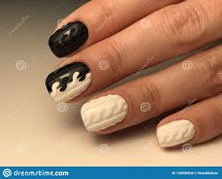 Pictures Of Black And White Nail Designs Cute Black And White Nails With Design Stock Photo Image