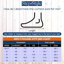 Take A Look At Size Chart Of All The Mens Punjabi Jutti