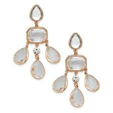 charter club women s rose gold tone crystal stone chandelier clip on earrings