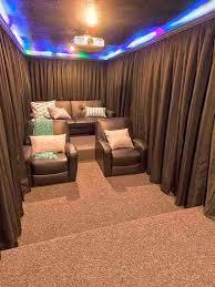 window diy home theater design idea soundproof curtains small ideas brown leather armchiars 9