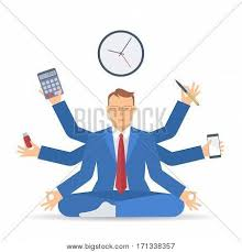 meditation businessman office. business multitasking time management flat vector concept isolated illustration businessman at work meditates like meditation office